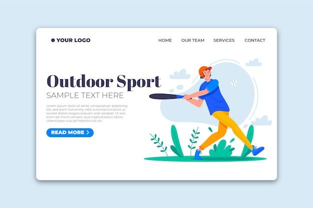 屋外スポーツランディングページフラットなデザインテンプレート 無料ベクター