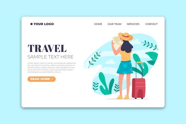 フラットなデザインの旅行テンプレートのランディングページ 無料ベクター