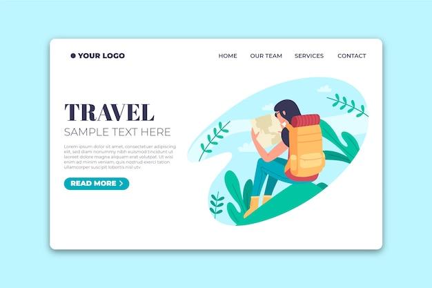 旅行テンプレートランディングページフラットデザイン 無料ベクター