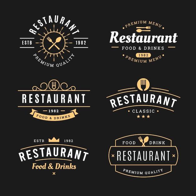 Ресторан старинный логотип шаблон коллекции Бесплатные векторы