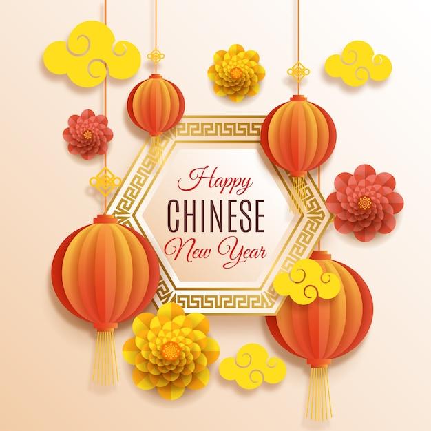 Китайский новый год концепция в стиле бумаги Бесплатные векторы