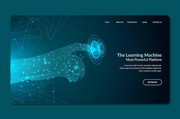 テンプレート人工知能のランディングページ 無料ベクター