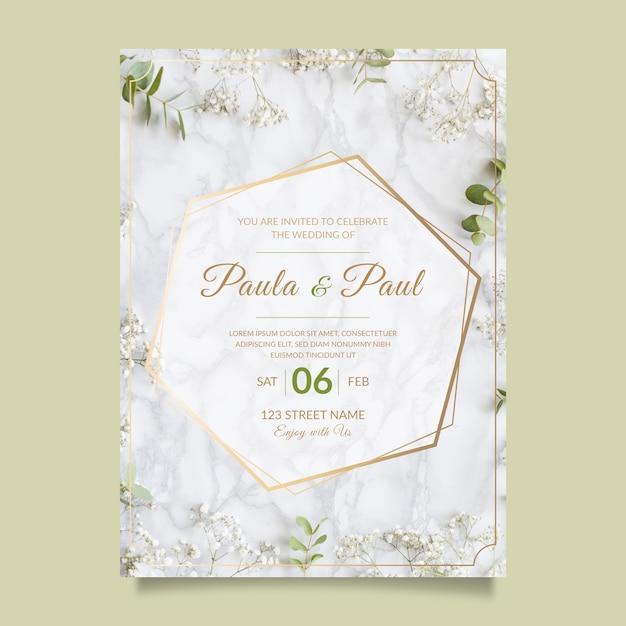 Прекрасное свадебное приглашение с фото Бесплатные векторы