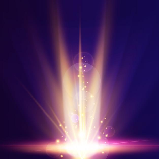 明るい地球の日の出の光の効果 無料ベクター