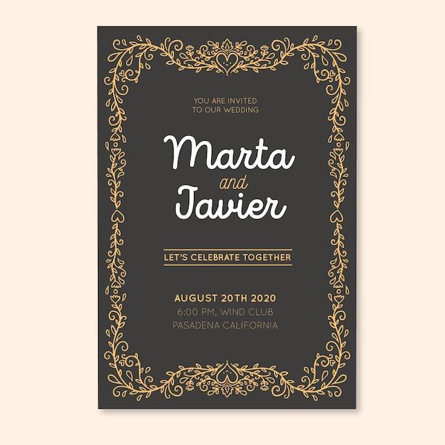 Ретро свадебная открытка с милыми украшениями Бесплатные векторы