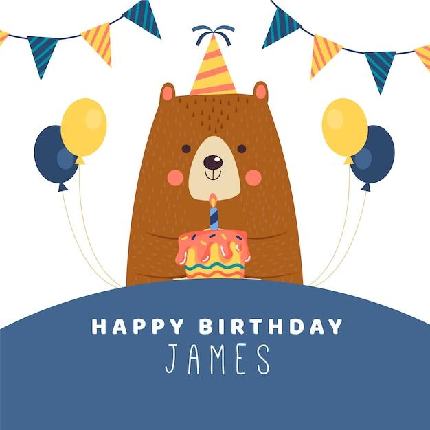 День рождения желаю инстаграм пост с медведем Бесплатные векторы
