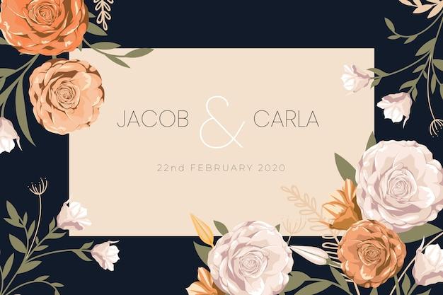 Цветочные сохранить дату приглашения на свадьбу Бесплатные векторы