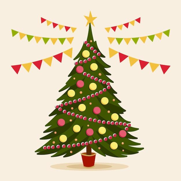 ビンテージデザインのクリスマスツリーの概念 無料ベクター