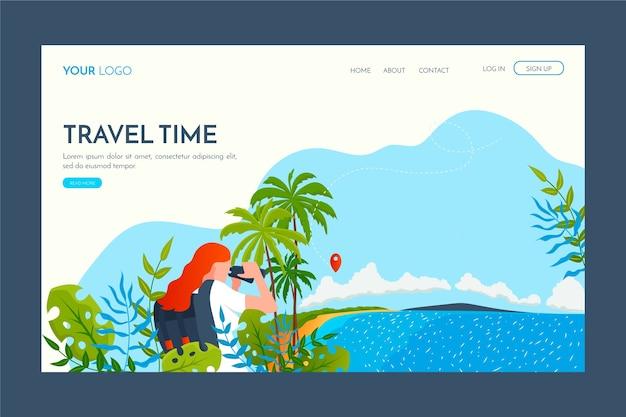 Целевая страница шаблона путешествия с плоским дизайном Бесплатные векторы