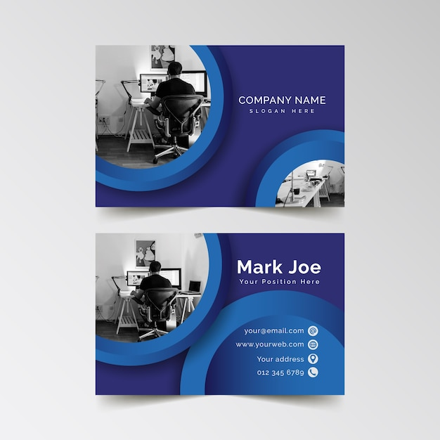 Абстрактный шаблон визитной карточки с фото Бесплатные векторы