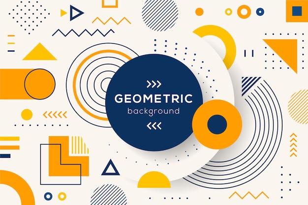 平らな幾何学的形状の壁紙 無料ベクター