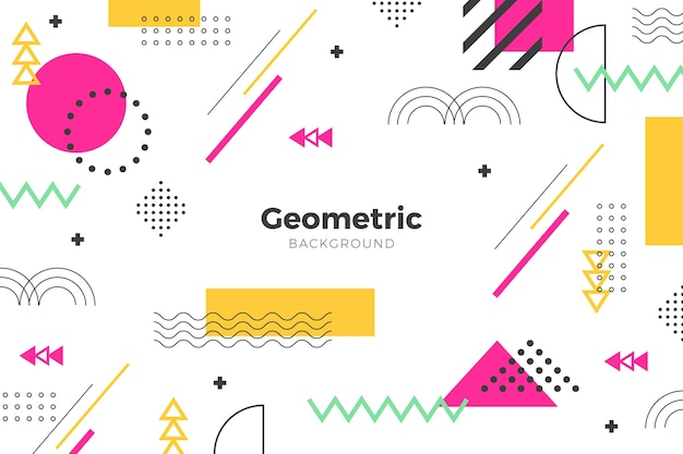 平らな幾何学的なピンクの図形の背景 無料ベクター