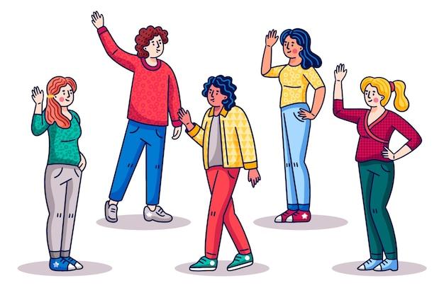 Молодые люди машут рукой в мультяшном стиле Бесплатные векторы