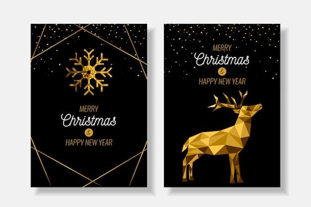 Рождественский постер шаблон в полигональном стиле Бесплатные векторы