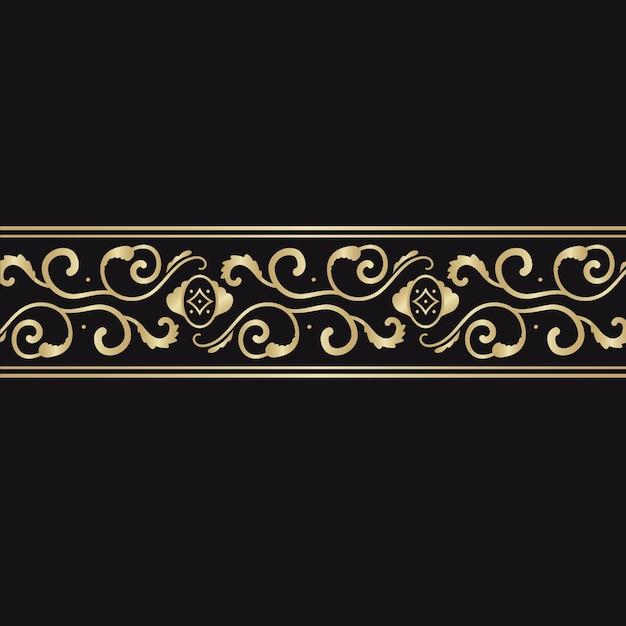 黄金の装飾的なボーダーコンセプト 無料ベクター