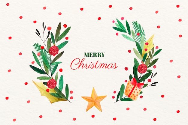 水彩クリスマス背景コンセプト 無料ベクター