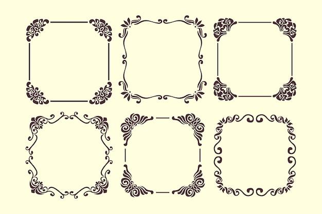 Коллекция старинных декоративных рамок Бесплатные векторы