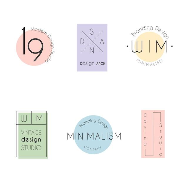 パステルカラーの最小限のロゴコレクション 無料ベクター
