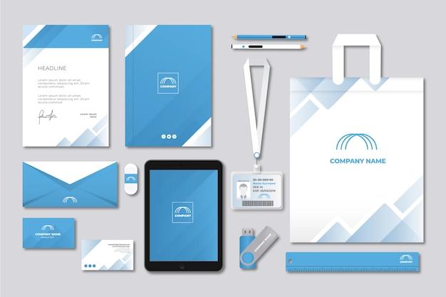 Современный профессиональный бизнес канцелярский набор Бесплатные векторы