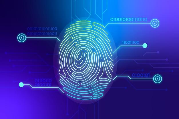 Синий неоновый фон отпечатков пальцев Бесплатные векторы