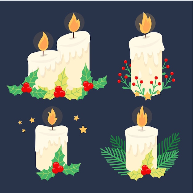 キャンドルとヤドリギのクリスマスの装飾 無料ベクター