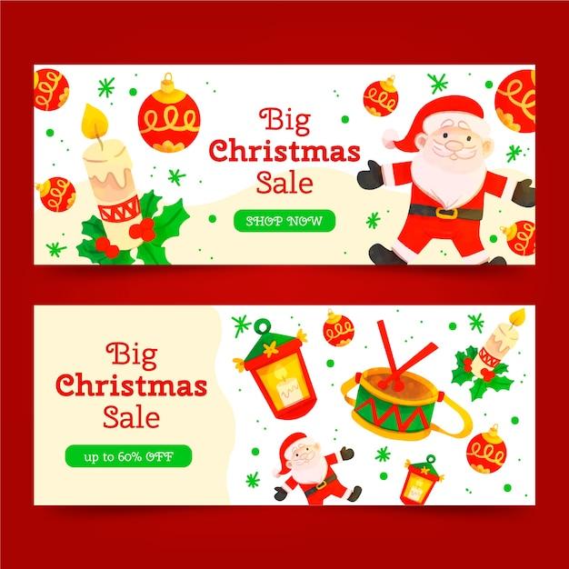 Акварельные рождественские продажи баннеров шаблон Бесплатные векторы
