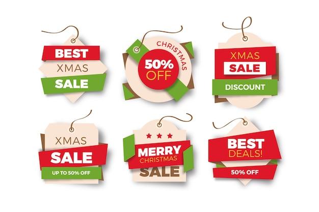 Новогодняя распродажа тегов в бумажном стиле Бесплатные векторы