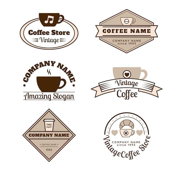 コーヒー店のレトロなロゴのコレクション 無料ベクター