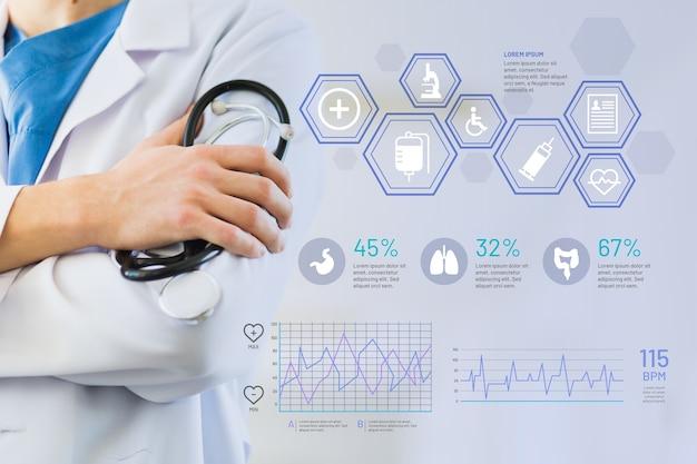 画像と医療のインフォグラフィック 無料ベクター