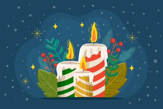 クリスマスキャンドルの手描きの背景 無料ベクター