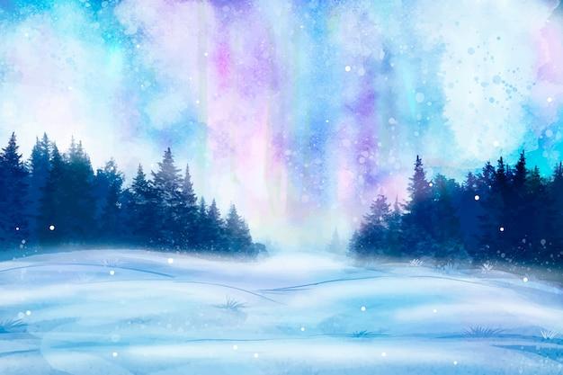 水彩の冬景色 無料ベクター