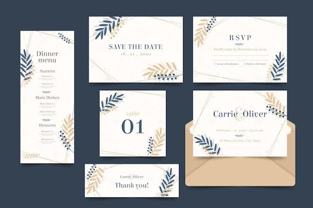 エレガントな結婚式テンプレートコレクション 無料ベクター