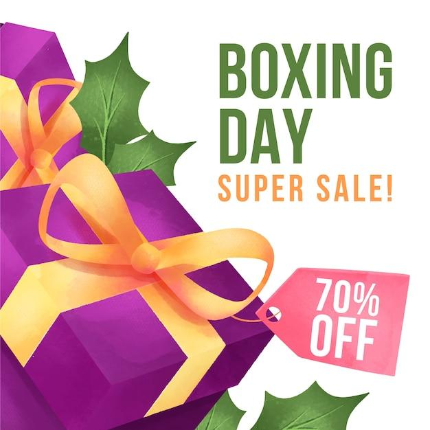 День подарков распродажа в акварели Бесплатные векторы