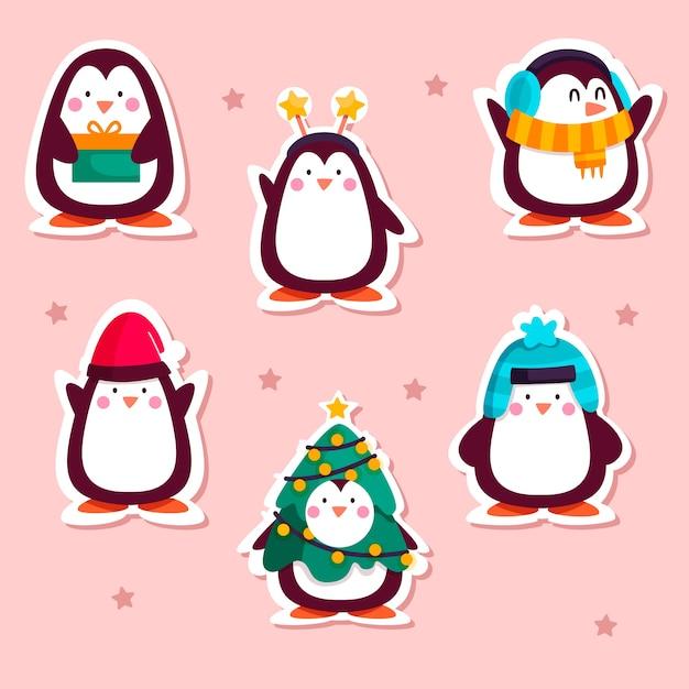 Нарисованная забавная коллекция наклеек с пингвинами Бесплатные векторы