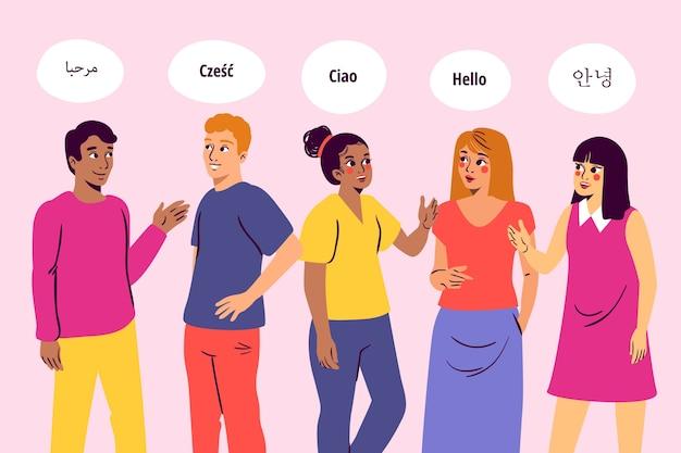Многокультурные граждане разговаривают на разных языках Бесплатные векторы
