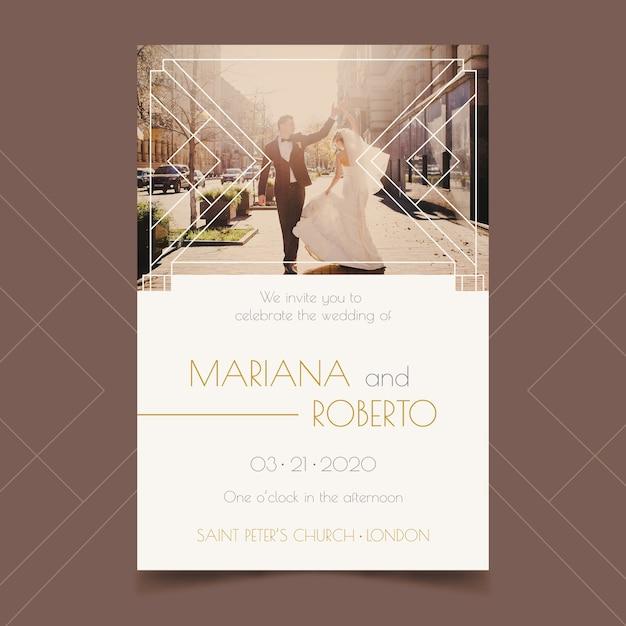 写真付きの結婚式の招待状 無料ベクター