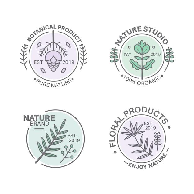 最小限のスタイルで設定された自然なビジネスロゴ 無料ベクター