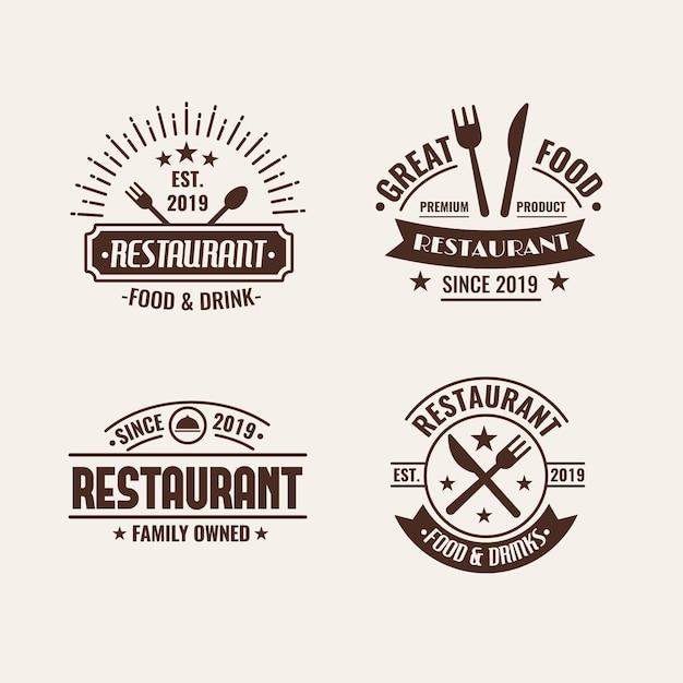 Ресторан ретро с логотипом Бесплатные векторы