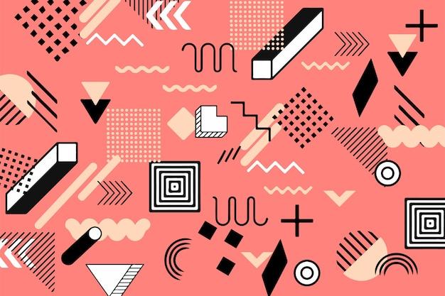 Фон плоские геометрические фигуры в стиле мемфис Бесплатные векторы