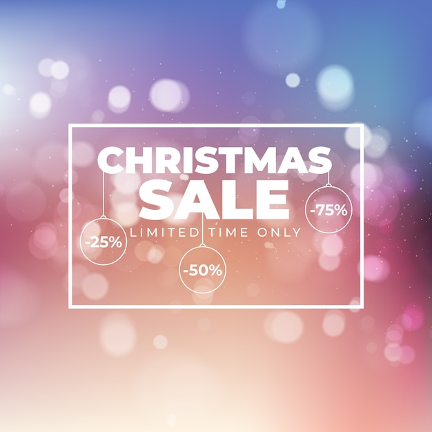 Размытые рождественские продажи баннер Бесплатные векторы