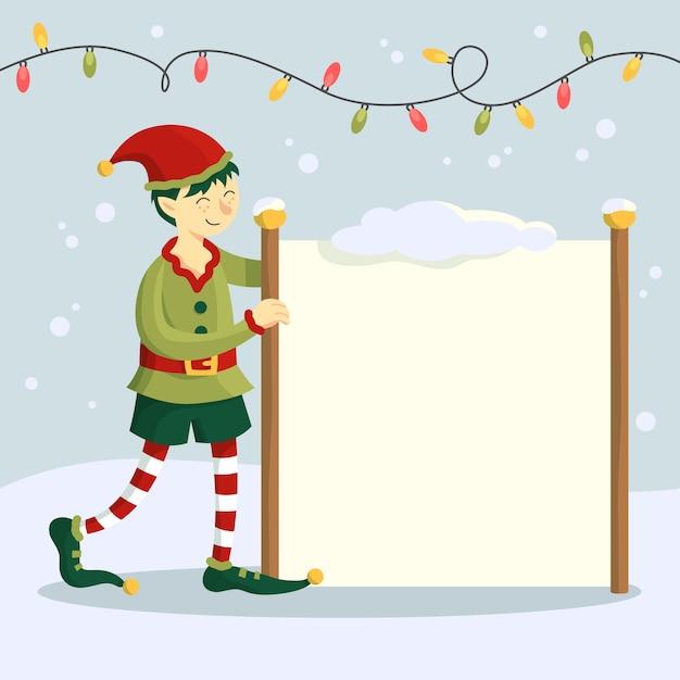 空白のバナーを保持している手描きクリスマス文字エルフ 無料ベクター