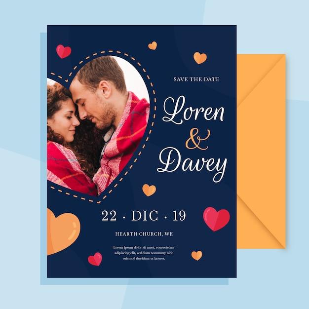 Сохраните дату свадебного приглашения с фото Бесплатные векторы
