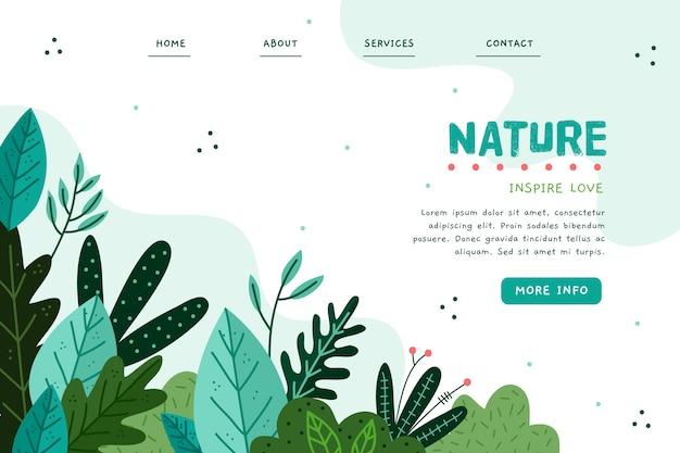 自然手描きのランディングページテンプレート 無料ベクター