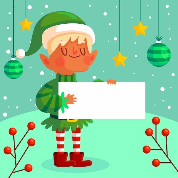 白紙の横断幕を持ってクリスマスエルフ文字 無料ベクター