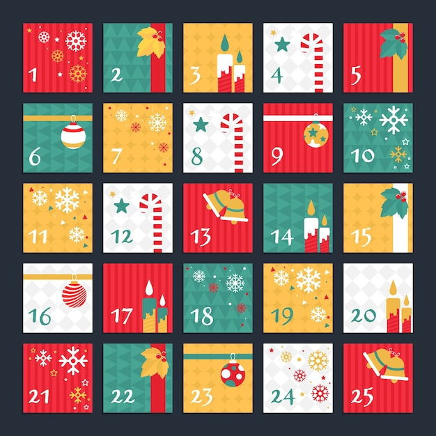 フラットなデザインの装飾が施されたアドベントカレンダー 無料ベクター