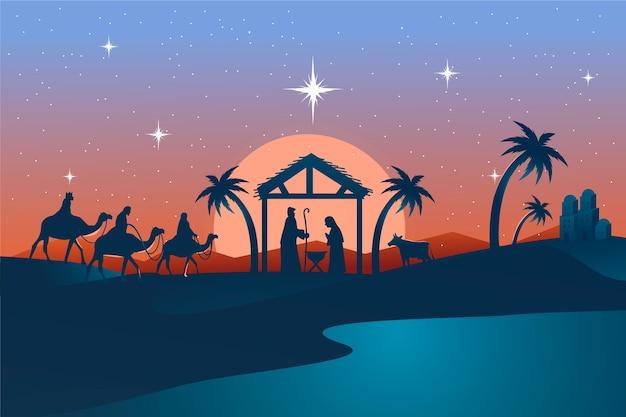 Нарисованная рукой иллюстрация сцены рождества Бесплатные векторы