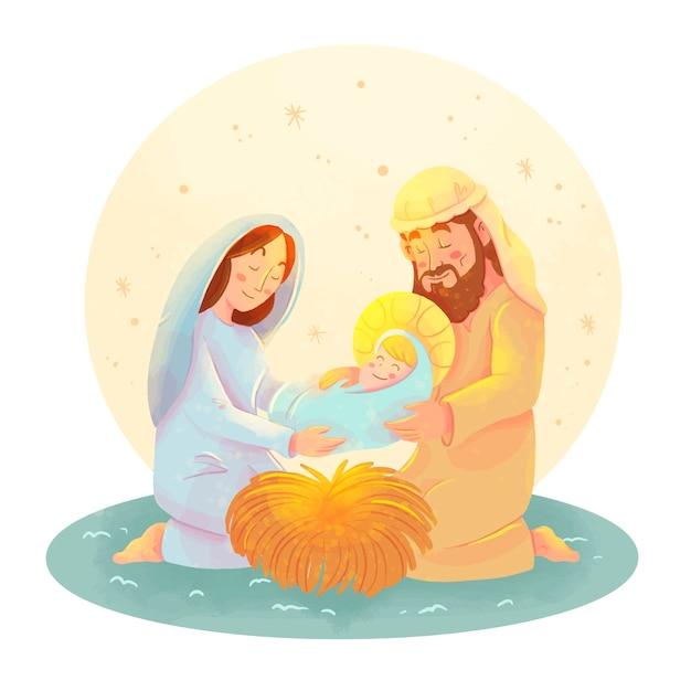 水彩キリスト降誕シーンイラスト 無料ベクター