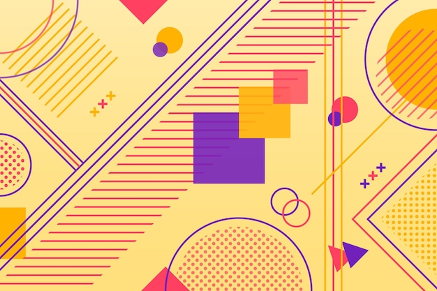Геометрические фигуры в плоском дизайне Бесплатные векторы