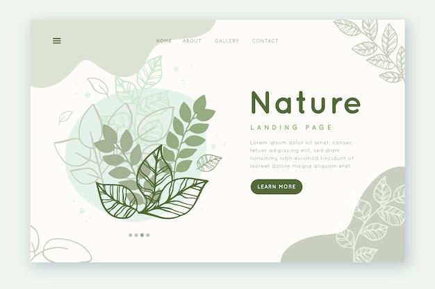 テンプレートの手描きの自然のランディングページ 無料ベクター