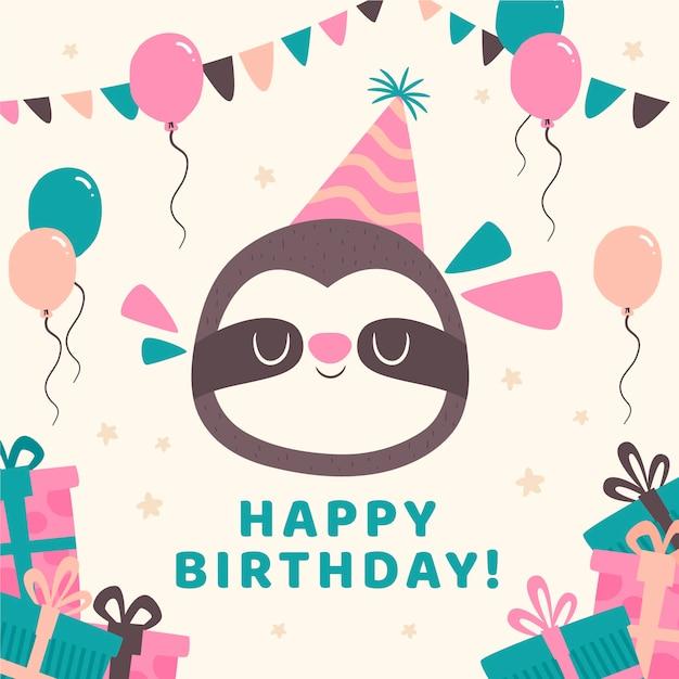 День рождения инстаграм пост с ленивцем и воздушными шарами Бесплатные векторы